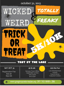 Wicked Weird and Totally Freaky Trick or Treat Trot by the Lake 5k/10k @ Norway Town Office | Norway | Maine | United States